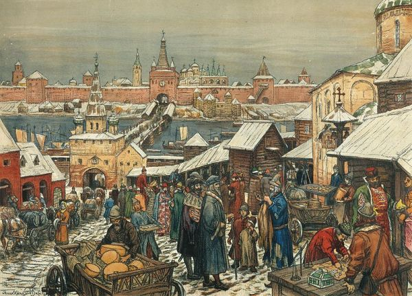 """The Novgorod Marketplace"" (Новгородский торг), a 1909 painting by A. M. Vasnetsov (1856-1933)"