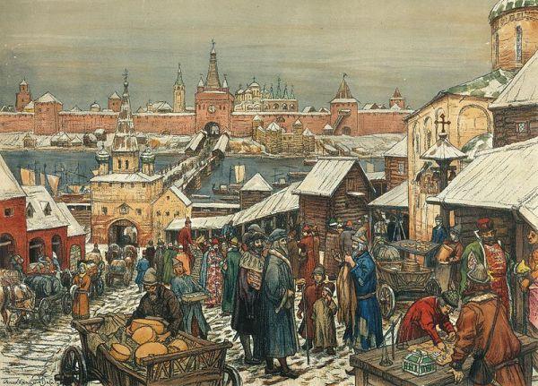 """The Novgorod Marketplace"" (Новгородский торг), a 1909 painting by A. M. Vasnetsov (1856-1933)"