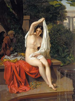 """""""Susanna Caught Unawares by the Elders,"""" an 1831 painting by G. I. Lapchenko (1801-1876)"""