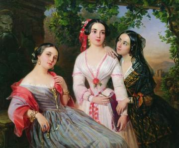 Evgeniia Tur and her sisters in an 1847 portrait by P. N. Orlov