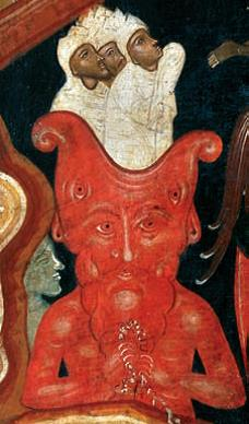 Detail of a Hellhead in the icon Resurrection and Descent (circa 1650), from the Museum of Russian Icons (Hundt and Smith 2013)