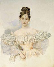 Pushkin's wife wearing a ferronière